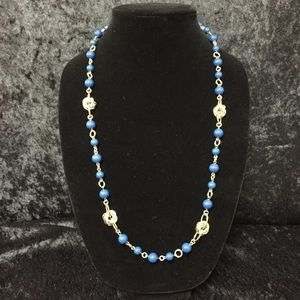 Jewelry - Banana Republic Blue & Gold Beaded Necklace (c012)